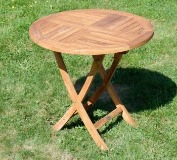 ECHT TEAK Gartentisch Klapptisch Holztisch Gartentisch Tisch rund 80cm JAV-COAMO