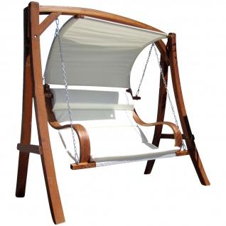 AS-S edle Hollywoodschaukel Gartenschaukel MERU mit Dach Holzgestell mit Doppelsessel aus Holz Lärche