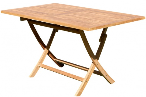 TEAK Klapptisch 140x80cm JAV-AVES-XXL Holz Serie JAV