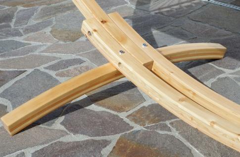 350cm Hängemattengestell NATUR-MONA aus Holz Lärche natur mit bunter Tuch Hängematte - Vorschau 3