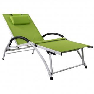 Gartenliege Sonnenliege Fitnessliege stabile Aluminium Konstruktion mit atmungsaktiven Kunststoffgewebe und Kopfpolster FIT-GRÜN