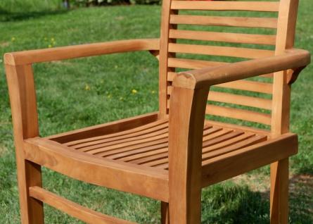 AS-S Teak Set Gartengarnitur Gartentisch 120x70 cm mit 4 Sessel Holz Serie JAV-ALPEN - Vorschau 5
