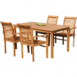 TEAK SET: Gartengarnitur Gartentisch 150x80 cm + 4 Alpen Sessel Holz JAV-ALPEN