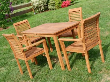 AS-S Teak Set Gartengarnitur Gartentisch 120x70 cm mit 4 Sessel Holz Serie JAV-ALPEN - Vorschau 3