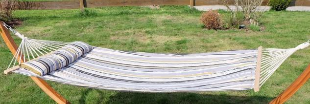 AS-S DESIGN Hängematte 120x200cm gefüttert mit Kopfkissen GRAU gestreift aus Baumwolle - Vorschau 2