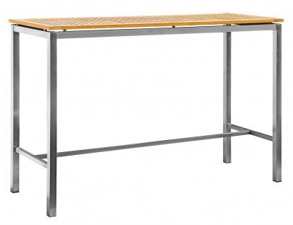 Edelstahl Teak Bartisch 160x60 cm Holztisch Stehtisch Tisch massive Ausführung A-Grade Teakholz MEXIKO