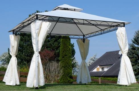 AS-S Garten Pavillon Gartenpavillon 3x3 Meter, Dach 100% WASSERDICHT UV30+ 9m² mit 4 Vorhängen quadratisch - Vorschau 5