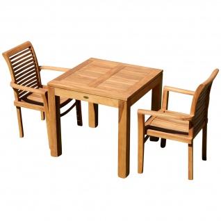 TEAK SET: Gartengarnitur Bigfuss Tisch 80x80 cm + 2 Sessel ALPEN Holz JAV