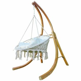 AS-S DESIGN Hängesesselgestell mit Hängesessel Holzgestell Hängestuhl mit Gestell aus Holz Lärche Modell CATALINA 100cm komplett mit großem Kissen