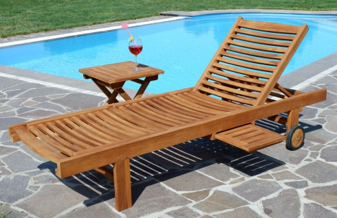 Hochwertige TEAK Sonnenliege Gartenliege Strandliege Liegestuhl Holzliege Holz sehr robust Modell: COZY+ Beistelltisch 45x45cm von AS-S - Vorschau 2