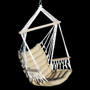ASS DESIGN Hängesessel MALY-BRAUN-INDOOR Hängekorb Schwebesessel Stoffsessel inkl. Armlehnen mit extrem gemütlichem Sitz Kissen 6cm dick (ohne Hängesesselstell)