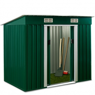 Gartenhaus Geräteschuppen Metallhütte 2, 38m² 1, 95x1, 22m aus verzinktem Stahlblech Metall grün von AS-S