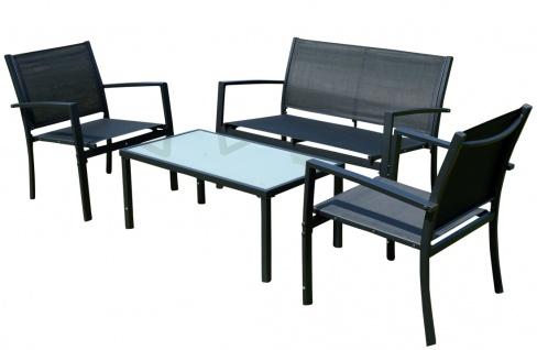 Sitzgruppe Gartenlounge CASAYA-black Lounge besteht aus einem Tisch, zwei Stühlen und einer Sitzbank