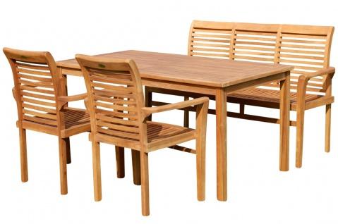 Teak Set: Gartengarnitur Gartentisch 150x80 cm + 1 Bank 150 cm für 3 Personen + 2 Sessel Serie JAV-ALPEN