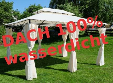 AS-S Eleganter Gartenpavillon 3x4 Meter, Dach 100% WASSERDICHT UV30+, 12m², mit 6 Vorhängen, rechteckig Modell: ELBA 3x4 - Vorschau 3