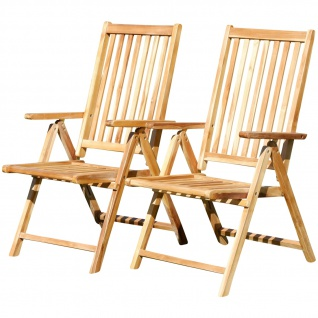 Doppelpack echt TEAK Hochlehner Gartensessel Holz Modell SUMMER 7-fach verstellbar