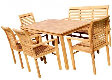 TEAK SET: Gartengarnitur Gartentisch 150x80 cm + 1 Bank 150 cm für 3 Personen + 4 Sessel Holz JAV-ALPEN