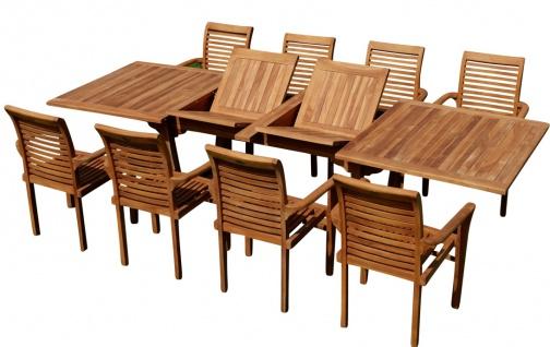 TEAK SET: Gartengarnitur Tobago Ausziehtisch 200/250/300cm x 100cm + 8 Alpen Sessel Serie JAV
