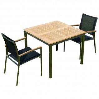 Gartengarnitur Edelstahl Teak Set: Tisch 90x90 cm + 2 Sessel Serie KUBA-SCHWARZ