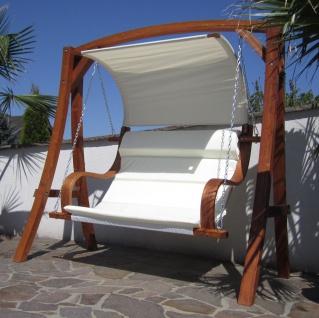 AS-S edle Hollywoodschaukel Gartenschaukel MERU mit Dach Holzgestell mit Doppelsessel aus Holz Lärche - Vorschau 5