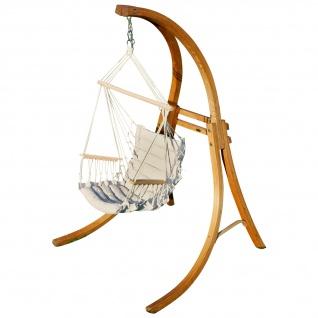 AS-S DESIGN Hängesessel Hängestuhl mit Gestell aus Holz Lärche CAT-MALY-BEIGE Holzgestell Hängesesselgestell komplett mit Stoffsessel angenehmer Sitzkomfort im 6cm dicken Kissen
