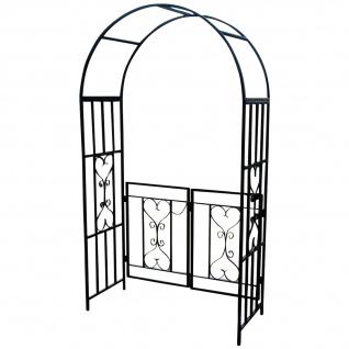 Eleganter XXL Rosenbogen Rankhilfe Pergola mit Tür aus Metall schwarz Mod. 5044-G
