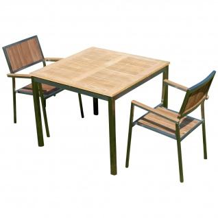 AS-S Gartengarnitur Edelstahl Teak Set: Tisch 90x90 cm + 2 Teak Sessel A-Grade Teak Holz Serie KUBA Gastroqualität