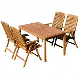 AS-S Teak Set Gartengarnitur Alpen Tisch 150x80 cm und 4 Tobago Sessel Serie JAV