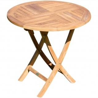 AS-S TEAK runder Klapptisch Gartentisch Holztisch Garten Tisch rund 80cm JAV-COAMO Teakholz