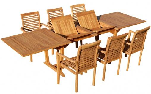 TEAK SET: Gartengarnitur Tobago Ausziehtisch 200/250/300cm x 100cm + 6 Alpen Sessel Serie JAV