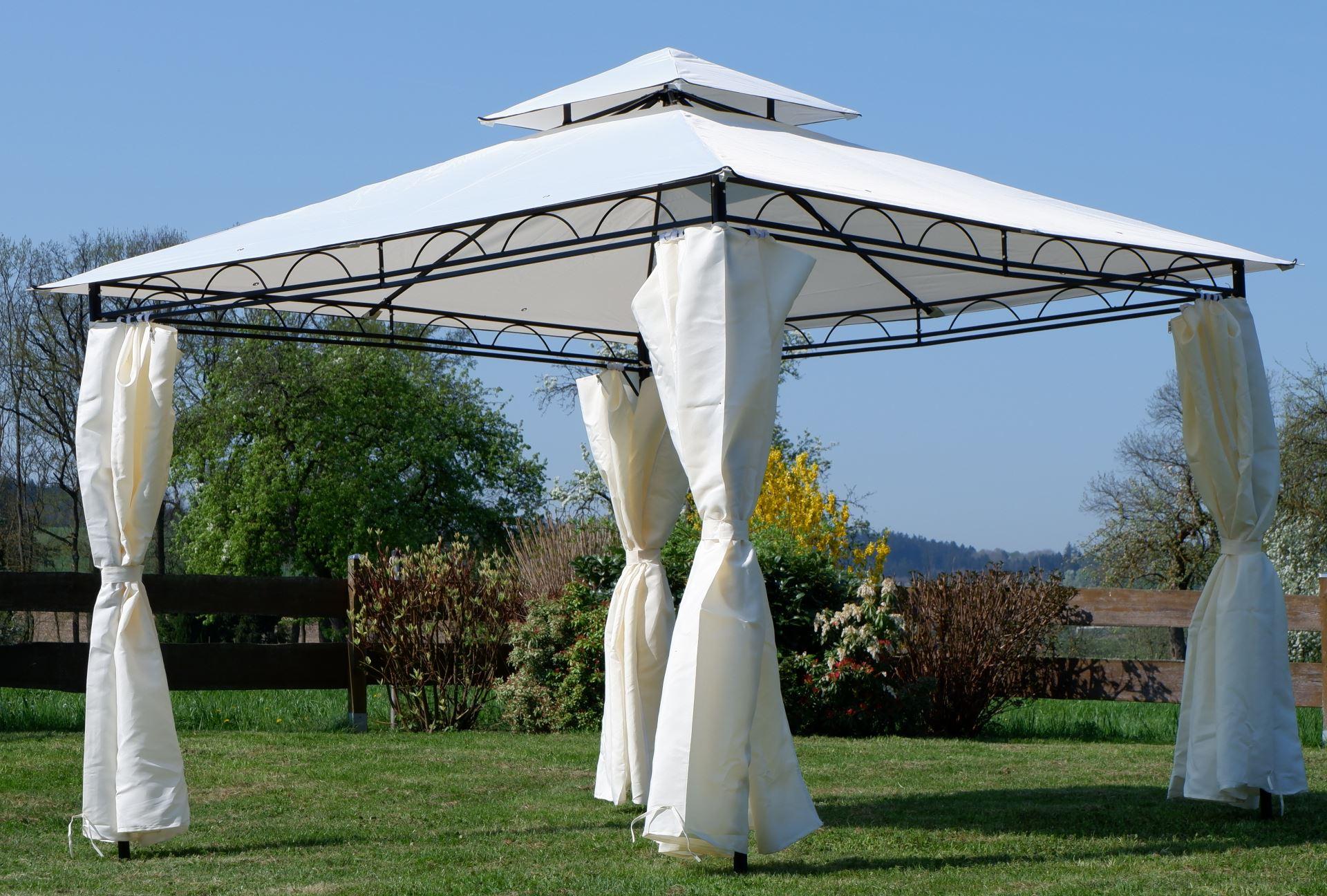 Eleganter Garten - Pavillon 3x3 3x3 3x3 Meter, Dach 100% WASSERDICHT UV30+, 9m², mit 4 Vorhängen quadratisch Modell  7075-3x3 f1a1dc