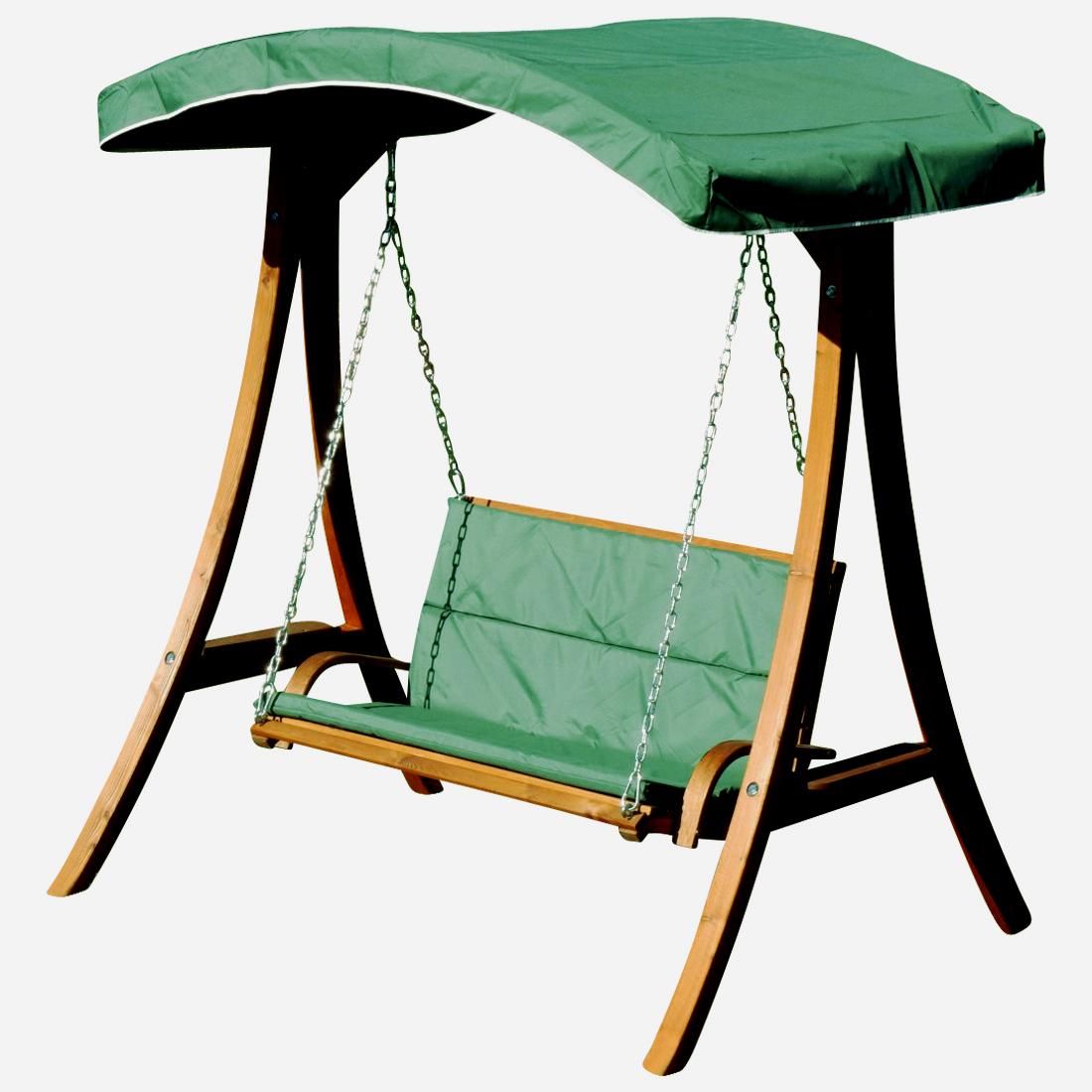 ASS Design Hollywoodschaukel Gartenschaukel Schaukelbank Rio aus Holz L/ärche mit Dach und Polsterauflage braun