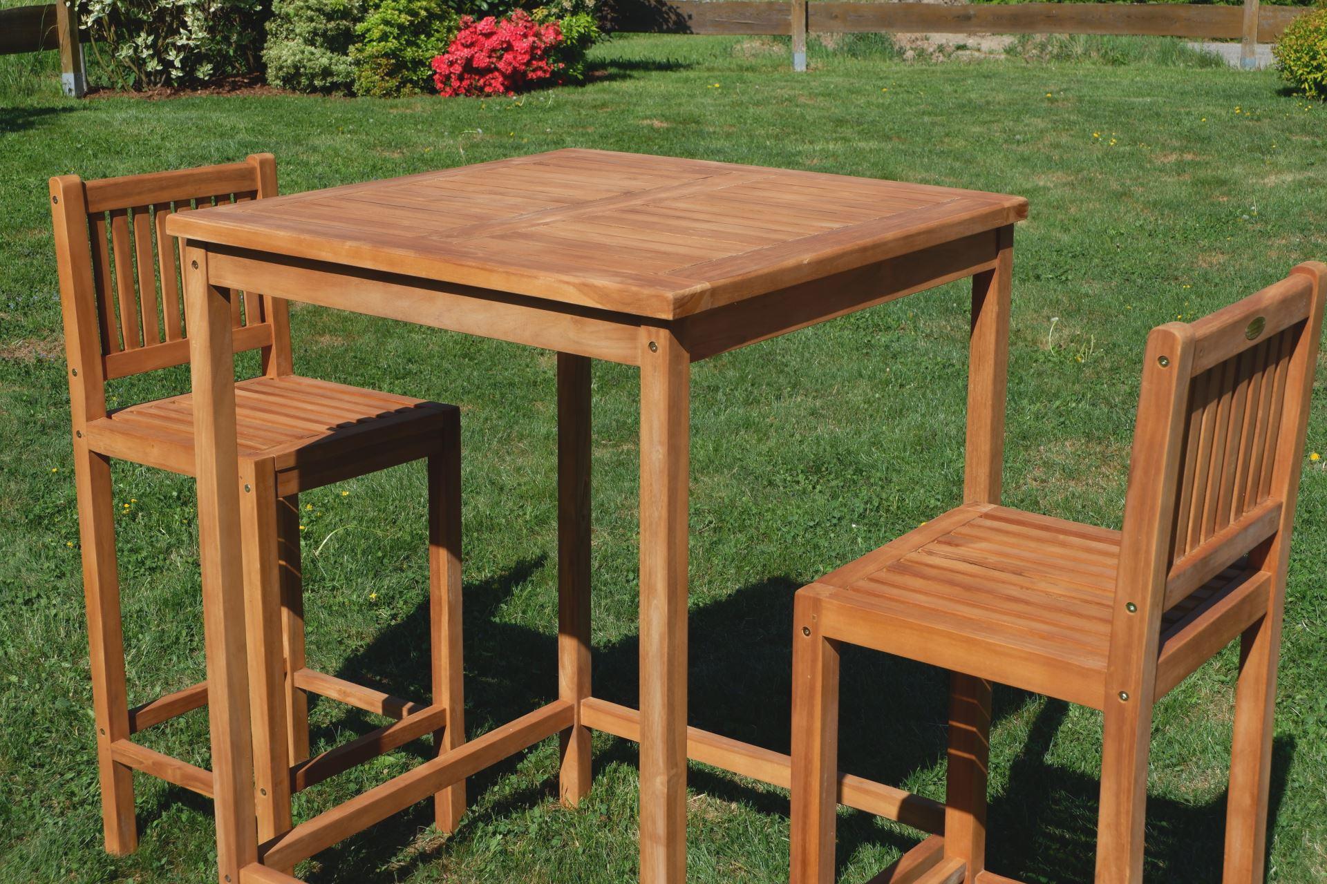 bar set teak bartisch bistrotisch stehtisch 80x80cm mit 2x barhocker holz modell jav bima. Black Bedroom Furniture Sets. Home Design Ideas