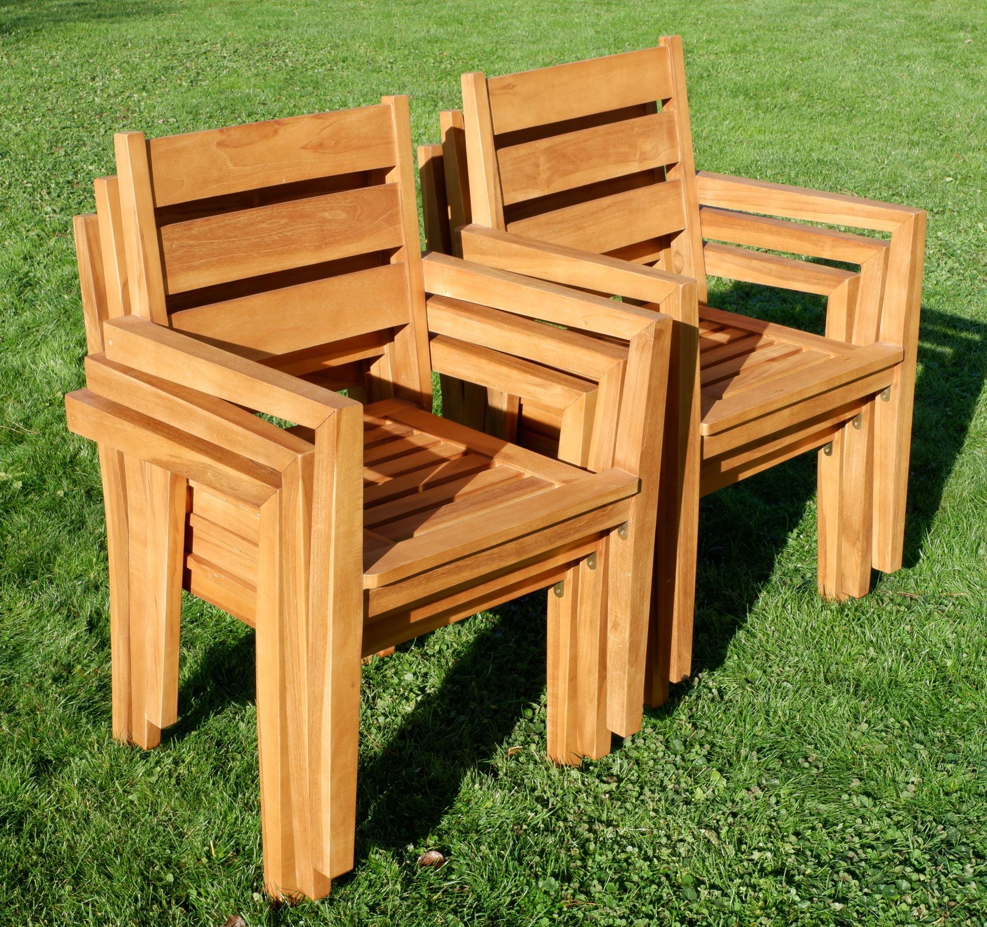 Gartenstühle holz stapelbar  6Stk ECHT TEAK Design Gartenstuhl Stapelstuhl JAV-KINGSTON stapelbar ...
