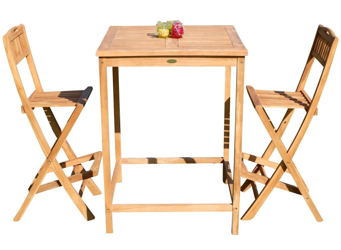Bartisch Bistrotisch.Bar Set Teak Bartisch Bistrotisch Stehtisch 80x80cm Mit 2x Barhocker Klappbar Holz Bima Set80 2klapp