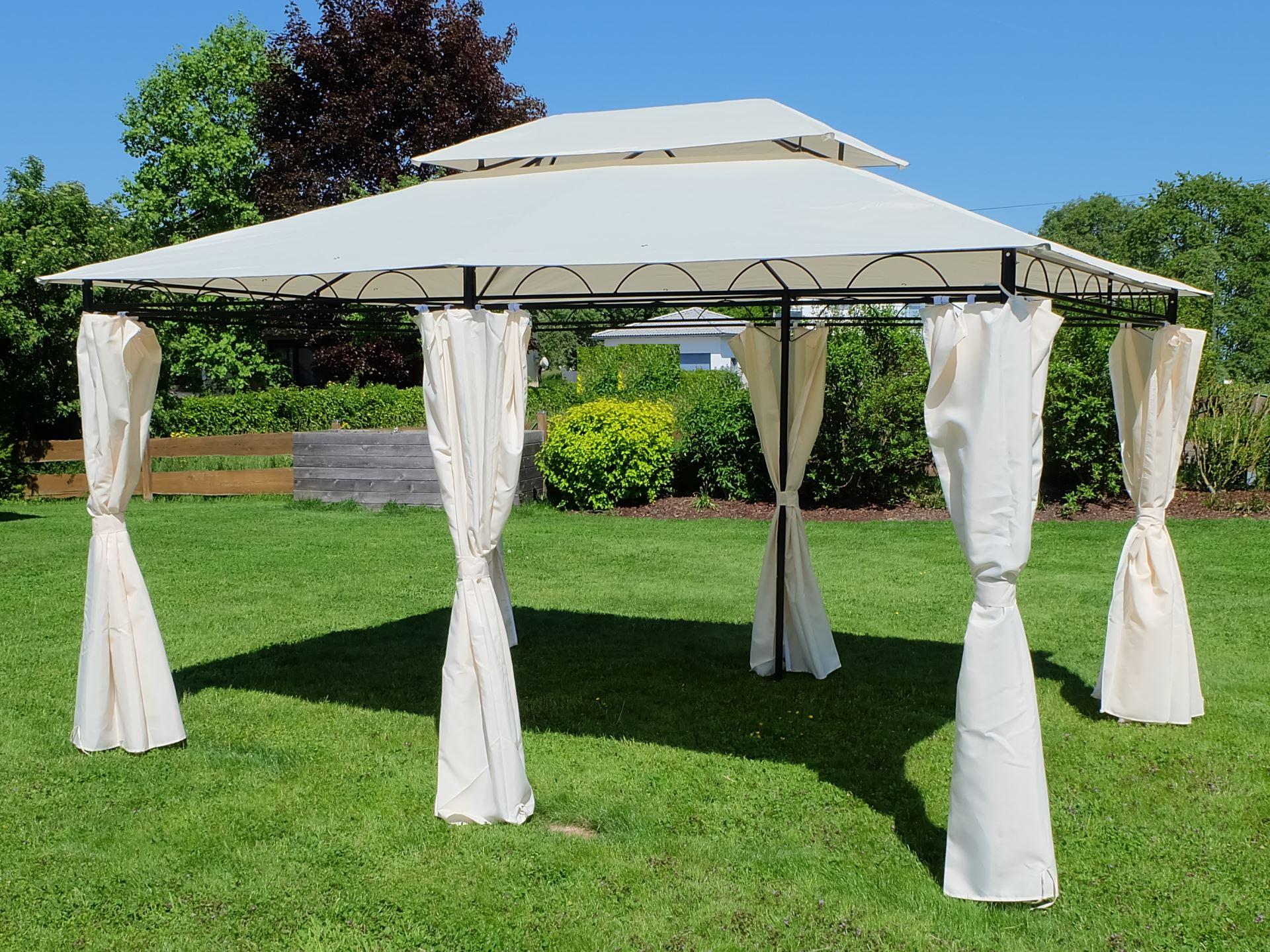 eleganter garten pavillon 3x4 meter dach 100. Black Bedroom Furniture Sets. Home Design Ideas