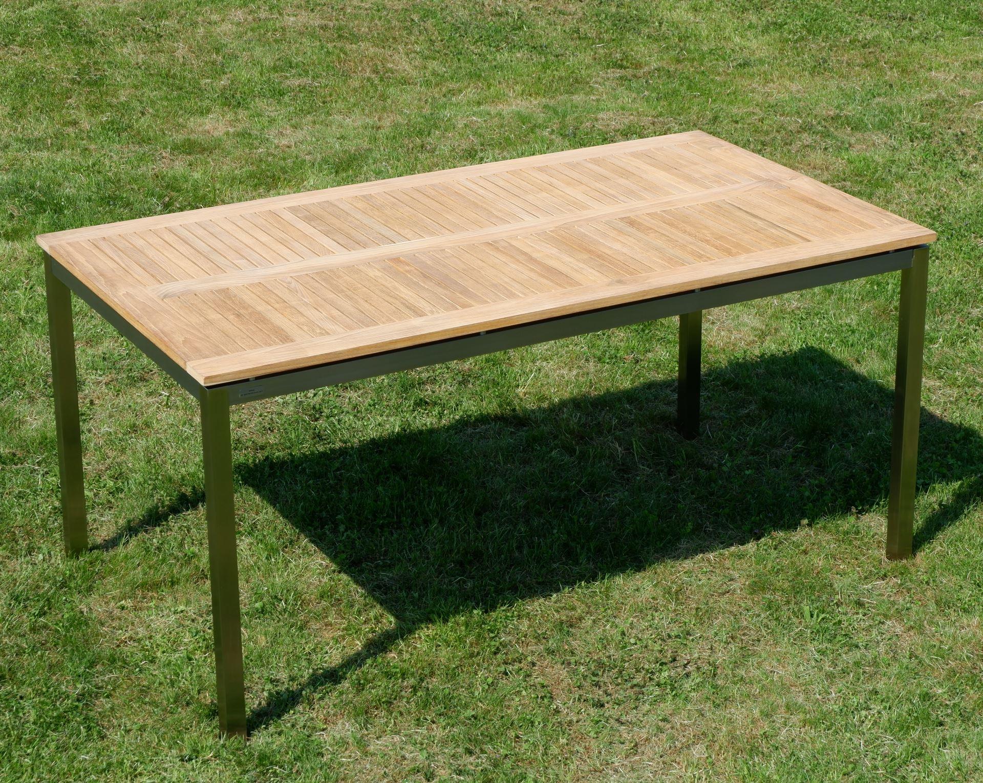 Edelstahl Teak Gartentisch 160x90 Cm Holztisch Esstisch Tisch