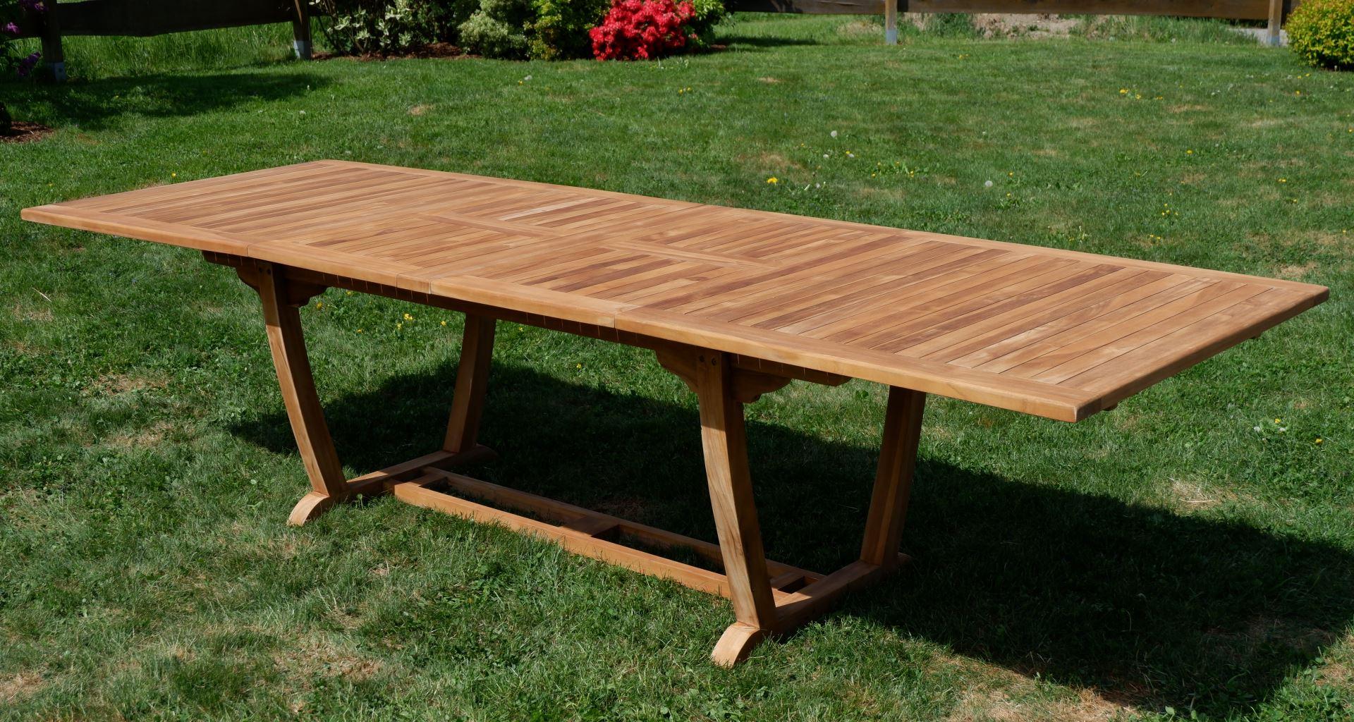 ECHT TEAK XXL Ausziehtisch Holztisch Gartentisch Garten Tisch 200 250 300cm 2fach ausziehbar, Breite 100cm Gartenmöbel Holz sehr robust