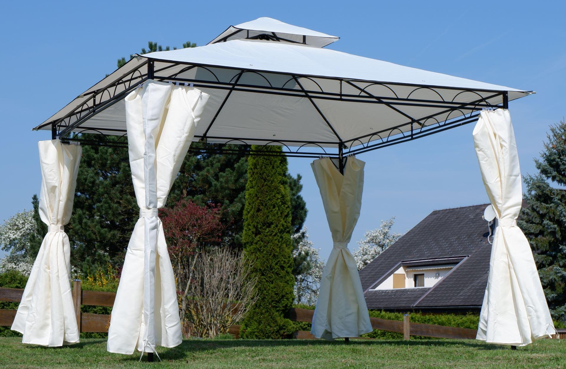 Top Eleganter Garten - Pavillon 3x3 Meter, Dach 100% WASSERDICHT UV30+ GO39