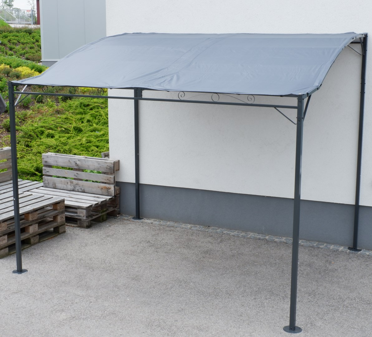 wand anbau pavillon 3 x 2 5 meter mit dach 100 wasserdicht uv30 model topea anthrazit