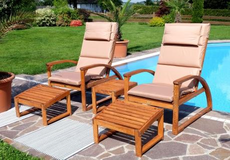 SET 2x großer Deckchair Sonnensessel BARBUDA mit Kopfpolster extrem robust inkl. Fußauflage und 1x Beistelltisch