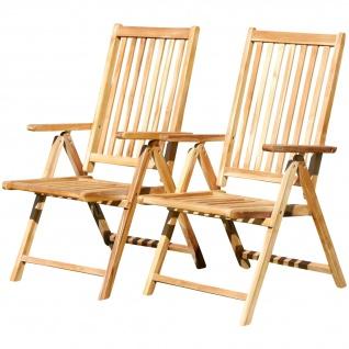 Doppelpack 7-fach verstellbarer Gartenstuhl Hochlehner klappbar verschiedene Modelle aus TEAK & Eukalyptus Holz