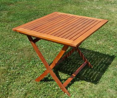 klappbarer Gartentisch Klapptisch 80x80 aus Eukalyptus Hartholz wie Teak