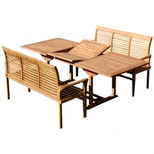 AS-S Teak Set: Gartengarnitur SABA Ausziehtisch 150-210 cm x 90 cm + 2 Bänke 150cm Holz Serie JAV