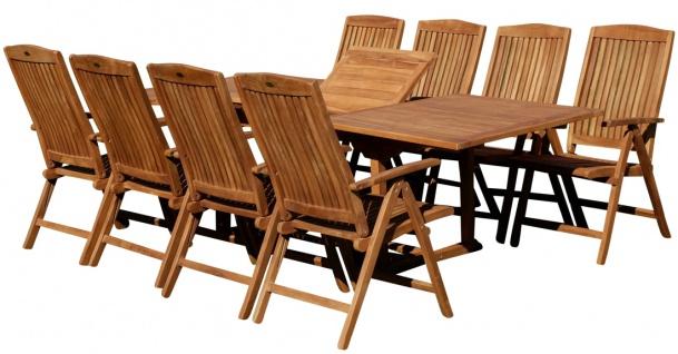 AS-S Teak Set: Gartengarnitur Ausziehtisch 180-240cm + 8 Hochlehner Sessel Holz Serie JAV-TOBAGO