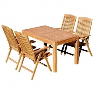 AS-S Teak Set Gartengarnitur Bigfuss Tisch 140x80 cm und 4 Tobago Sessel Serie JAV
