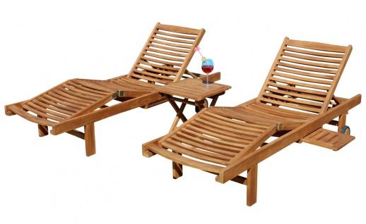2x Hochwertige TEAK Sonnenliege Gartenliege Strandliege Liegestuhl Holzliege Holz sehr robust Modell: COZY+ 1x Beistelltisch 45x45cm