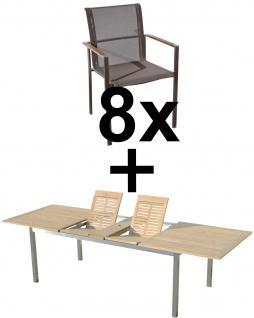 AS-S Gartengarnitur Edelstahl Teak Holz A-Grade Batyline Set: Ausziehtisch 200/240/280 x 100 cm + 8 Sessel mit Batyline Bespannung Serie KUBA-BRAUN Gastroqualität