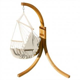 AS-S Hängesessel geknüft mit weichem Sitz Polster Holz Gestell aus Lärche NAV-MALY-BEIGE komplett Hängesesselgestell und Hängesessel angenehmer Sitzkomfort im 6cm dickem Kissen