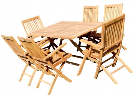 TEAK SET: Gartengarnitur Klapptisch 140x80 + 6 Klappsessel mit Armlehne Holz JAV-AVES